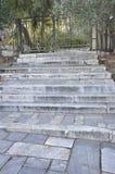 Areopagus-Hügel-Stein Treppe von Athen in Griechenland lizenzfreies stockfoto
