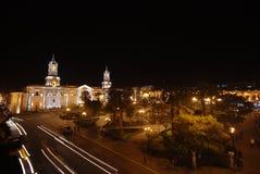 Arequipa τή νύχτα Στοκ εικόνα με δικαίωμα ελεύθερης χρήσης