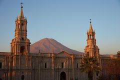 Arequipa Cathedral at Dusk Stock Images