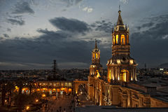 Arequipa. Center and market place of Arequipa at night Royalty Free Stock Image