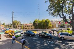 Arequipa city Peru. Peru Arequipa August 2018 in this square located at the end of the Grau bridge the traffic is always intense. From here public transport royalty free stock images