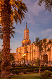 Arequipa. Evening In Arequipa at Plazza de Armas Royalty Free Stock Photos