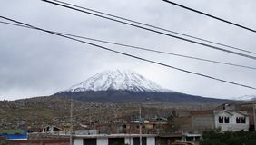 Arequipa landscape with snow-covered peak of Misti volcano royalty free stock photos
