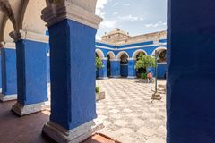MAIN SQUARE AND CATHEDRAL CHURCH IN PERU stock photography
