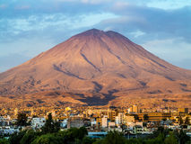 Arequipa, Peru with its iconic volcano Chachani in the backgroun. Ity of Arequipa, Peru with its iconic volcano Chachani in the background Royalty Free Stock Images