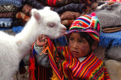 AREQUIPA, PERU - JANUARY 6: Unidentified Quechua little boy in t Royalty Free Stock Photography