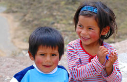 AREQUIPA, PERU - JANUARY 6: Unidentified Quechua little kids on Royalty Free Stock Photos