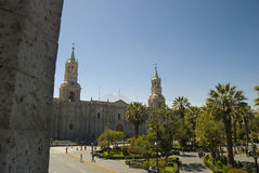 Arequipa, Peru main square and cathedral Royalty Free Stock Photo