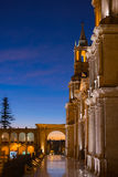 Arequipa, Peru: Main Square and Cathedral at dusk Stock Photos