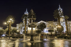 AREQUIPA, PERU - MAY 06, 2016: Colonial houses on Plaza de Armas Royalty Free Stock Photo