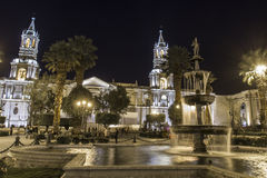 AREQUIPA, PERU - MAY 06, 2016: Colonial houses on Plaza de Armas Stock Photography