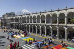 AREQUIPA, PERU - MAY 06, 2016: Corpus Christi on Plaza de Armas Stock Photo