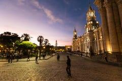 Arequipa, Peru: Mening van de Kathedraal belangrijkste kerk bij de ochtend Royalty-vrije Stock Foto