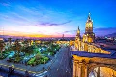 Arequipa Plaza på natten Royaltyfri Bild