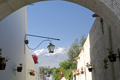 Arequipa street with volcano Royalty Free Stock Image