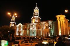 Arequipa vid natt Fotografering för Bildbyråer