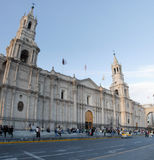 Arequipakathedraal en Plaza DE Armas, Peru Royalty-vrije Stock Fotografie