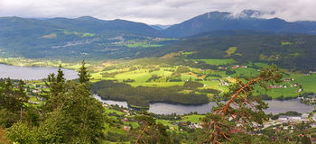 Arerial panoramic view of Voss,  Norway Stock Photo