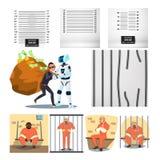 Aresztująca charakter przestępca I więzienie Ustalony wektor ilustracja wektor