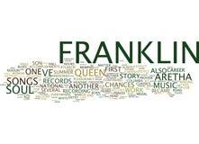 Aretha Franklin η ιστορία της βασίλισσας της έννοιας σύννεφων του Word ψυχής Στοκ Εικόνες