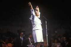 Aretha Franklin sjunger på den 1992 demokratiska nationella regeln på Madison Square Garden, New York Arkivbilder