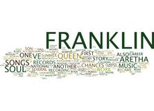 Aretha Franklin The Story Of The Queen Of Soul Word Cloud Concept. Aretha Franklin The Story Of The Queen Of Soul Text Background Word Cloud Concept stock illustration