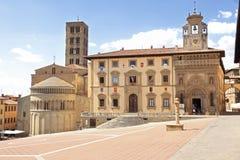 Arezzo main square stock photo