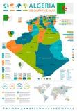 Argélia - mapa e bandeira infographic - ilustração detalhada do vetor Imagem de Stock Royalty Free