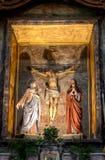 Arg Madonna Joseph för Kristus skulptur Arkivfoto