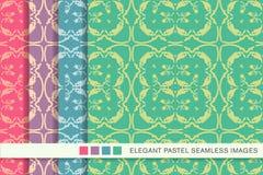 Arg vinranka L för sömlös pastellfärgad kurva för bakgrundsuppsättning botanisk spiral royaltyfri illustrationer