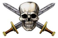 Arga svärd och skalle stock illustrationer