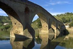 中世纪桥梁,河Arga,普恩特de la Reina 免版税库存照片