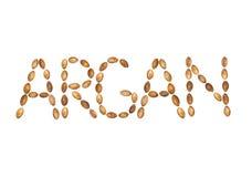 Argan κειμένων έλαιο που γίνονται από Argan τα καρύδια και έλαιο στο απομονωμένο υπόβαθρο Στοκ Εικόνες