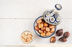 Argan fruit in a moroccan tajine Stock Photography
