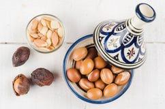 Argan fruit in a moroccan tajine Stock Photo
