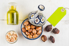Argan fruit in a moroccan tajine Stock Image