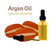 Argan natuurlijke olie Etherische olie, schoonheidsmiddelen, aromatherapy kuuroord, Stock Afbeelding