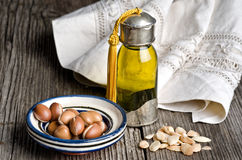 Argan oil and fruit Royalty Free Stock Photography