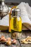 Argan oil with fruits Royalty Free Stock Photo