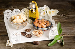 Argan oil and fruits with Shea butter and nuts Stock Photography