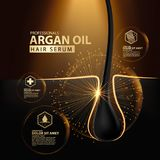 Argan oil hair care protection contained in bottle. Golden and black background 3d illustration Royalty Free Stock Image