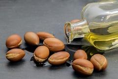 Argan olie, vloeibaar goud van Marokko Stock Foto's
