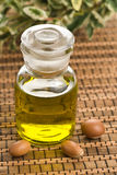 Argan vruchten en olie stock afbeeldingen