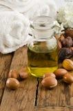 Argan vruchten en olie stock foto's