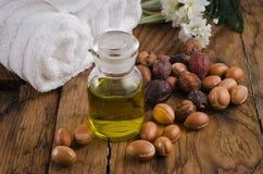 Arganfrüchte und -schmieröl Stockfoto