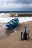 Argano la barca con suo solitario. Fotografie Stock