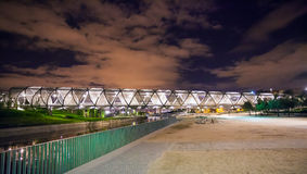 Arganzuela Bridge illuminated at night and Madrid Rio Park, Madr Royalty Free Stock Image