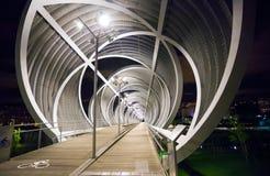 Arganzuela Bridge illuminated at night and Madrid Rio Park, Madr Stock Image