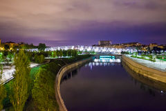 Arganzuela Bridge illuminated at night and Madrid Rio Park, Madr Stock Photos