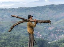 Argapura Indonesia 2018: Farmer carrying wood to his house from his plantation, West Java, Indonesia stock photo